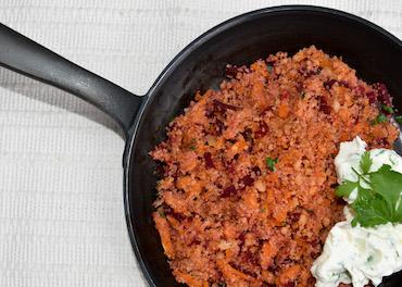 Ribelmais Rezept - Rote Ribel Süsskartoffelrösti mit Kräuterfrischkäse